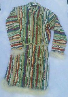XL Nwt Coogi knit sweater dress & jacket suit multicolor fur trim vintage look
