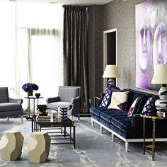 French Living Room. Interior Designer Jean-Louis Deniot. Velvet blue sofa