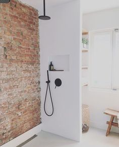 36 Modern Bathroom Design Ideas With Exposed Brick Tiles Bathroom Inspiration, Bathroom Remodel Shower, Brick Wall Paneling, Modern Bathroom, Bathrooms Remodel, Bathroom Design, Bathroom Wall Decor, Bathroom Wall, Tile Bathroom