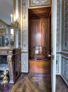 Versailles - Cabinet Wardrobe of Louis XVI - This is  Not a wardrobe, its his Water Closet !  Yuck !
