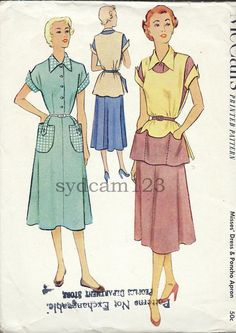 1951 McCalls #8630 Shirtwaist Dress & Poncho Apron Pattern.by sydcam123, etsy