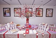 Lavender & Red holiday dessert table