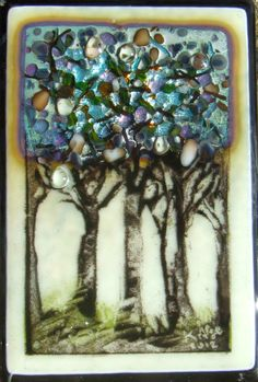 Powder Glass Sgraffito Trees with silver, 2012 Kelly Crosser Alge (SOLD)