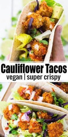 If youre looking for vegan tacos, this is the perfect recipe for you! These vegan cauliflower tacos taste like heaven! It makes such a great vegan dinner! Find more vegan recipe ideas at veganheaven.org! #vegan #veganrecipes #tacos