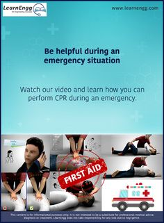 Be helpful during an emergency situation. Watch our video and learn how you can perform CPR during an emergency: [Click on the image] #learnengg #cpr #firstaid