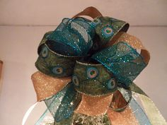 Gold glitter, mesh teal and Teal/green Peacock  Ribbons Christmas Tree topper bow 8ft. tails by creativelycarole on Etsy
