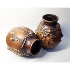 Rare Pair of Art Nouveau Vases Signed H. L. Desrousseaux Chestnuts... (1,295 ILS) ❤ liked on Polyvore featuring home, home decor and art nouveau home decor