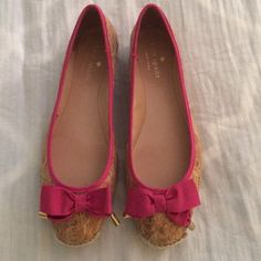 Kate Spade Ballet Flats! Adorable Kate Spade Ballet Flats! Cork with a pink bow embellishment. Size 6 1/2. Only been worn once! kate spade Shoes Flats & Loafers