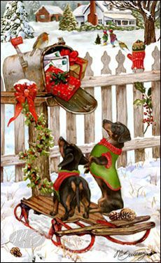 Shop for Cards - Dachshund - Dachshund - Christmas Delivery (Black & Tan). Just love this Christmas card and since I really can't afford to send out cards this year; consider this my card to you. Vintage Dachshund, Dachshund Art, Long Haired Dachshund, Daschund, Dachshund Drawing, Christmas Animals, Winter Christmas, Christmas Crafts, Christmas Decorations