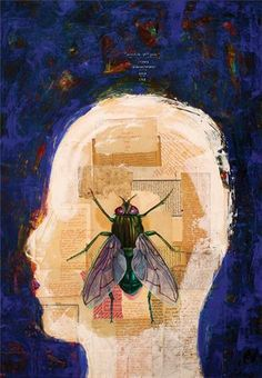 Ergin İnan, Face to Face with the Fly, 2006, mixed media on MDF, 100 x 70 cm.