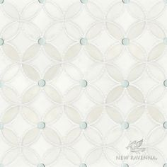 Esferitas mosaic shown in honed Paperwhite, tumbled Thassos and Tropical White Serenity glass Mosaic Shower Tile, White Mosaic Tiles, Mosaic Backsplash, Mosaic Wall, Mosaic Glass, Kitchen Backsplash, Stained Glass, Mosaic Mirrors, Kitchen Reno