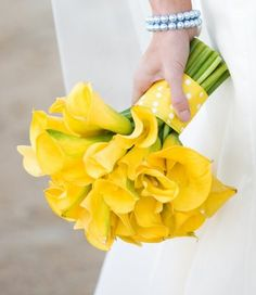 Great for bridesmaid's bouquet with white ribbon around stems,