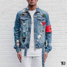 new jacket allert!denim jacket with patches! Denim Jacket Patches, Patched Jeans, Denim Jacket Men, Denim Coat, Jean Jackets With Patches, Designer Denim Jacket, Jean Jacket Design, Dope Jackets, Mode Hip Hop