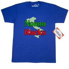 Inktastic Nonno (Italian Grandfather) Rocks T-Shirt Italian Grandfather Family Pride Nonna Nonni Grandmother Grandparents Women Gifts Mens Adult Clothing Apparel Tees T-shirts, Size: Large, Blue
