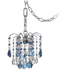"Nicolli Blue Crystal 8"" Wide Swag Plug-In Mini Chandelier - #Y0516   LampsPlus.com"