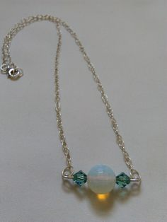 Opalite and Crystal Necklace - Gemstone Bar Necklace - Minimal Stone Necklace - Gemstone and Silver Bar Necklace - Blue and Green Pendant by KarenElizabethJ on Etsy
