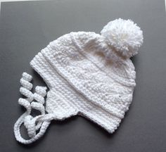 Earflap Hat - Crochet Baby Girl Hat - Winter Hats Baby - Pom Pom Hat - Earflap Beanie - Hats For Babies - 3 Month Girl Clothes - Earwarmer by Crochet2Cherish4You on Etsy