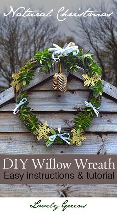 Decorate your home with this beautiful and natural willow Christmas wreath...handmade by you! It's an easy and quick project that will leave you with a stunning decoration fit to decorate any stylish home #Christmas
