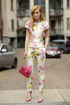 Pin for Later: The Best of Paris Fashion Week Street Style (Updated!) MFW Street Style Day 3 Bella Thorne nails girlie-cum-sophisitciated matching separates.
