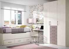 Habitación infantil con compacto de dos camas de 190