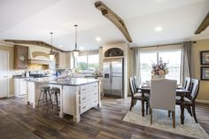The BORDEAUX Kitchen. This Manufactured Mobile Home features 3 bedrooms and 2 baths. Manufactured Home Decorating, Manufactured Homes For Sale, Home Pictures, Kitchen Pictures, Kitchen Ideas, Single Wide Mobile Homes, Remodeling Mobile Homes, Home Remodeling, Kitchen Island