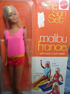 Barbie malibu: Francie  The Sun Set Malibu, Barbie cousin, made in Japan, 1970 -- Before we were concerned with skin cancer.
