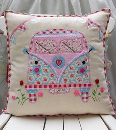 Your place to buy and sell all things handmade - Camper Van Pillow Cushion cover Cath Kidston Linen Other Fabric Home Décor Unique Handmade Applique - Applique Cushions, Cute Cushions, Sewing Pillows, Patchwork Cushion, Decorative Cushions, Fabric Crafts, Sewing Crafts, Sewing Projects, Cath Kidston Fabric