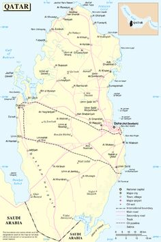 Map of Qatar.