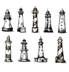 Set of cartoon lighthouses icons pencil drawing vector by kamenuka on VectorStoc. Set of cartoon lighthouses icons pencil drawing vector by kamenuka on VectorStock®. Men Henna Tattoo, Ankle Tattoo Men, Cute Ankle Tattoos, Lighthouse Sketch, Lighthouse Painting, Tattoo Sketches, Drawing Sketches, Pencil Drawings, Drawing Style