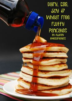 Fluffy, soft pancakes that are actually dairy, egg, wheat, and soy free. Top 8 free and vegan too! They use a secret ingredient: aquafaba. From Allergy Awesomeness.