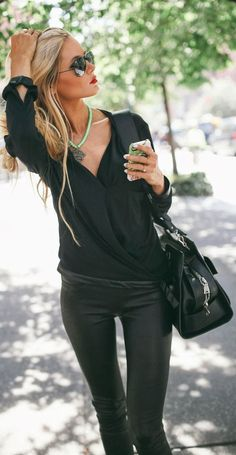 sunglasses green necklace leggings leather pants handbag style fashion women apparel clothing outfit casual All black fashion