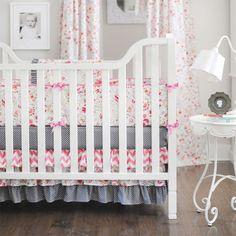 Prim Posie Baby Bedding from @PoshTots #chevron #floral #pink