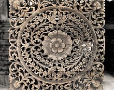 """Decorative Wood Wall Panel. Traditional Floral Wood Carved Wall Hanging from Thailand. Feng shui Home. (24""""x24""""x0.6"""" Black wash colour)"""