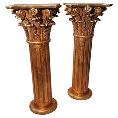 Large Matched Pair of Carved Wood Corinthian Column Pedistals, Gilded, Italy | From a unique collection of antique and modern pedestals and columns at https://www.1stdibs.com/furniture/building-garden/pedestals-columns/
