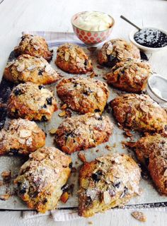 Blueberry and Almond Scones -These super tasty scones are brimming with juicy blueberries and aromatic spices. Serve them with clouds of whipped cream and dark berry jam or slathered with good butter and dollops of lemon curd for a weekend treat. Best Butter, Blueberry Scones, Sliced Almonds, Lemon Curd, Meals For The Week, Baking Recipes, Muffin Recipes, Breakfast Recipes, Tray Bakes