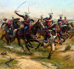 """Ulani del rgt. lituano """" Litovski"""" inseguono la fanteria francese"""