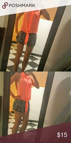 Candies Sheer Coral Tie Top Tie tank top in a gorgeous coral color. It is lightweight and super comfortable. It is gently used. Body: 100% polyester Lace: 100% nylon  ***************************************** Let's keep in touch 💕  Instagram: alyss_aa Twitter: aestremo16 Candie's Tops Tank Tops