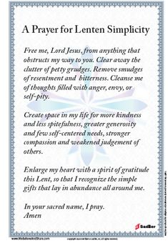 A Prayer for Lenten Simplicity Prayer Verses, Faith Prayer, Prayer Quotes, My Prayer, Bible Verses Quotes, Catholic Lent, Catholic Religion, Catholic Prayers, Lent Prayers