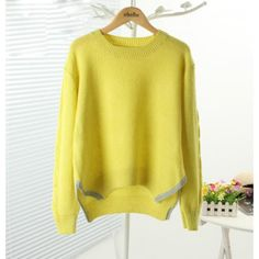 Light Yellow Side Slit Cropped Sweater