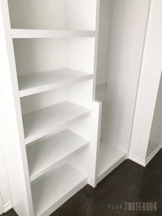 Installing our own Built-In Closet System (with pricing) - Pink Little NotebookPink Little Notebook Diy Master Closet, Master Closet Design, Bedroom Closet Storage, Build A Closet, Closet Shelves, Wardrobe Storage, Closet Space, Diy Custom Closet, Custom Closet Design