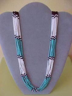 Navajo color block necklace.