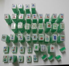 Bright Green/semi-transparent/White 3-toned Mah Jongg Tiles