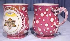 Masonic Sunderland Ware Cups with Dragon Handles