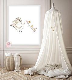Boho Swan Baby Girl Nursery Wall Art Print Ethereal Crown Whimsical Bohemian Floral Printable Decor