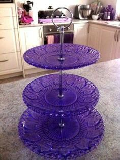 Violet Cottage •~• purple glass tiered sweets trays
