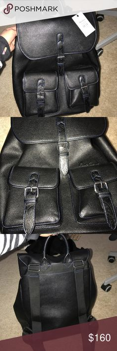 Robert Graham Black Leather Backpack Robert Graham Black Leather Backpack.  Blue stitching. Brand new with tags. Robert Graham Bags Backpacks