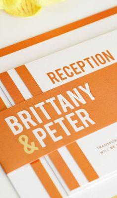orange + striped invitation suite. love this design from shine wedding invitations!