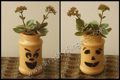 Halloweend-In-Peach: A Recycled Jar from my kitchen, set with an indoor potted plant, in theme for halloween.