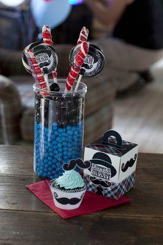 Little Man Mustache Birthday Party Candy, Cupcake and Favors! #Birthday #Kids #BirthdayExpress
