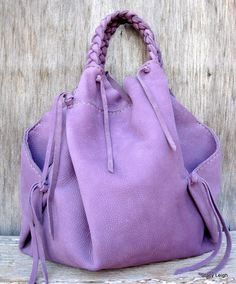 Slouchy Leather Erin Style Hobo Bag in Dusky Purple Nubuck by Stacy Leigh… Purple Love, All Things Purple, Shades Of Purple, Light Purple, Purple Purse, Purple Bags, Malva, Purple Fashion, Textiles